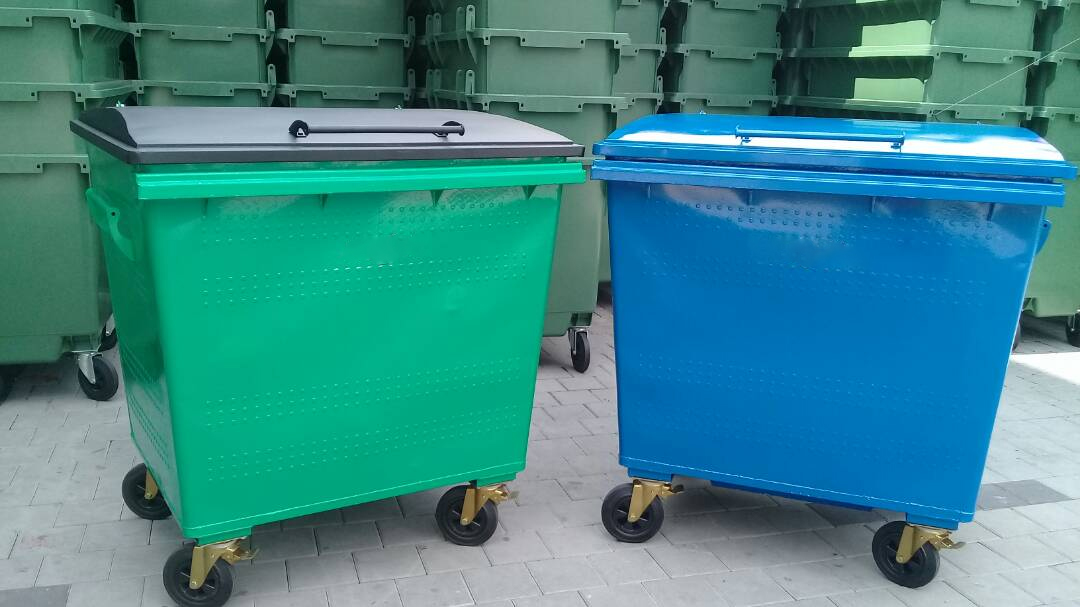 MGB1100G Galvanised Bins in various colours